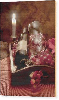 Wine By Candle Light II Wood Print by Tom Mc Nemar