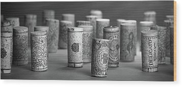 Wood Print featuring the photograph Wine Cork Panorama In Black And White by Tom Mc Nemar