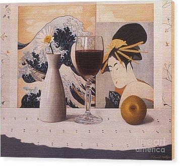 Wine Glas And Japanese Prints Wood Print by Daniel Montoya
