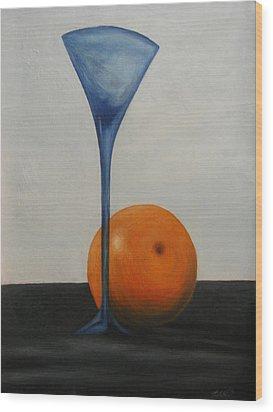 Wine Glass And Orange Wood Print