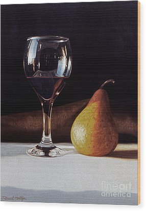 Wine Glass And Pear Wood Print by Daniel Montoya