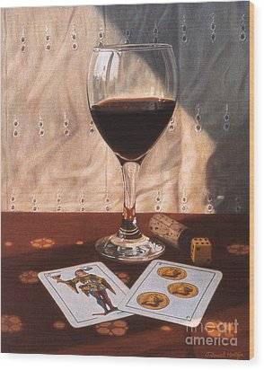 Wine Glass And Playing Cards Wood Print by Daniel Montoya