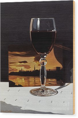 Wine Glass And Postcard Of Florence Wood Print by Daniel Montoya