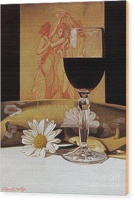 Wine Glass And Three Graces Wood Print by Daniel Montoya