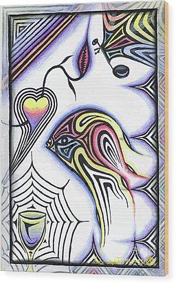 Wine Glass Fish Wood Print by Luke Galutia