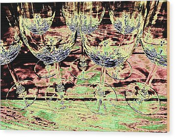 Wine Glasses Wood Print by Will Borden