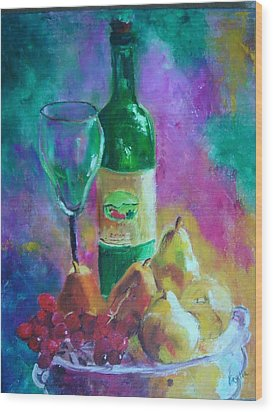 Wine Grapes And Pears Wood Print by Virgilla Lammons