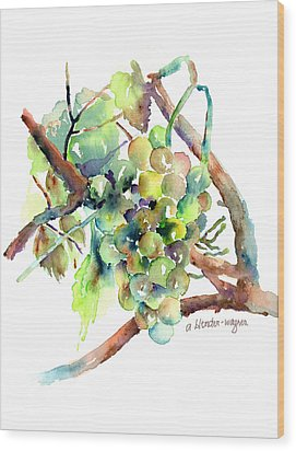 Wine Grapes Wood Print by Arline Wagner
