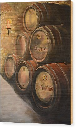 Wood Print featuring the painting Wine In The Barrels - Chateau Meichtry by Jan Dappen
