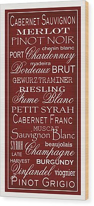 Wine List Red Wood Print by Rebecca Gouin