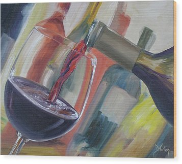 Wine Pour Wood Print by Donna Tuten