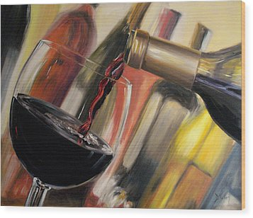 Wood Print featuring the painting Wine Pour II by Donna Tuten