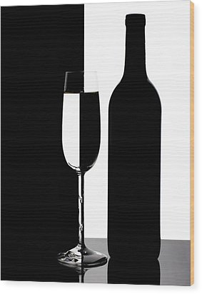 Wine Silhouette Wood Print
