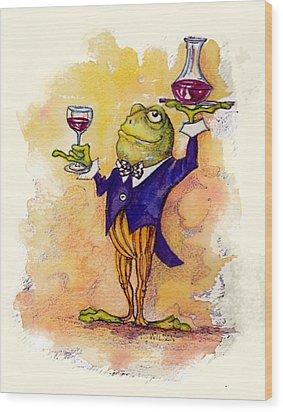 Wine Steward Toady Wood Print by Peggy Wilson