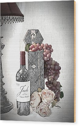 Wood Print featuring the photograph Wine Tasting Evening by Sherry Hallemeier