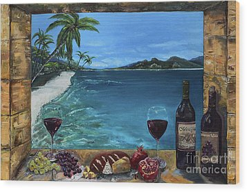 Wood Print featuring the painting Wine Thirty - Oceanside by Jan Dappen