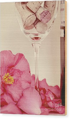 Wine With Camellia Wood Print by Kim Fearheiley