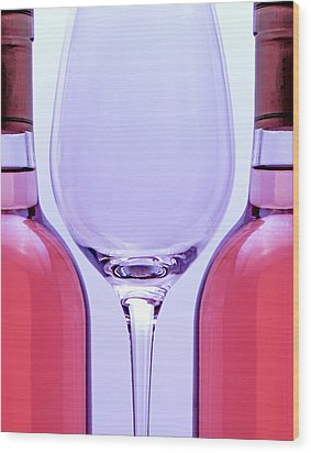 Wineglass And Bottles Wood Print by Tom Mc Nemar