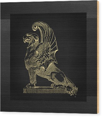 Wood Print featuring the digital art Winged Chimera From Theater De Bellecour, Lyon, France, In Gold On Black by Serge Averbukh