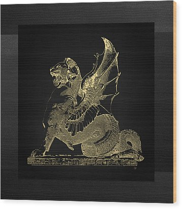 Wood Print featuring the digital art Winged Dragon Chimera From Fontaine Saint-michel, Paris In Gold On Black by Serge Averbukh