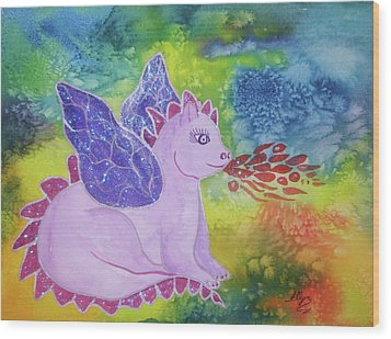 Wood Print featuring the painting Winged Dragon by Ellen Levinson
