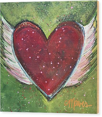 Wood Print featuring the painting Winged Heart Number 1 by Laurie Maves ART