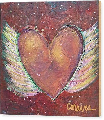 Wood Print featuring the painting Winged Heart Number 2 by Laurie Maves ART