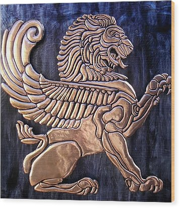 Winged Lion Wood Print by Cacaio Tavares