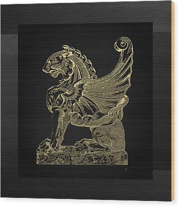 Wood Print featuring the digital art Winged Lion Chimera From Casa San Isidora, Santiago, Chile, In Gold On Black by Serge Averbukh