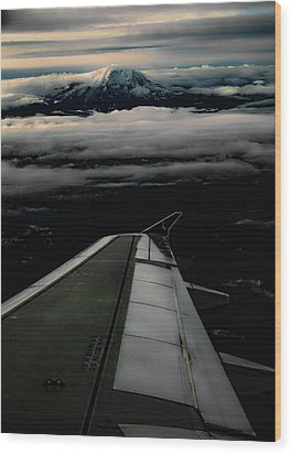 Wings Over Rainier Wood Print by Jeffrey Jensen