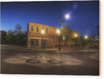 Winslow Corner Wood Print by Wayne Stadler