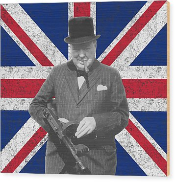 Winston Churchill And His Flag Wood Print by War Is Hell Store