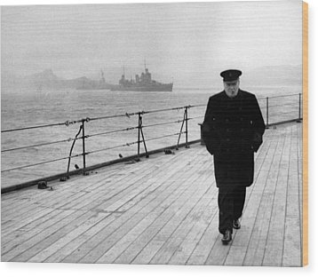 Winston Churchill At Sea Wood Print by War Is Hell Store