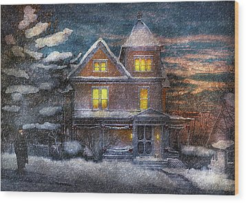 Winter - Clinton Nj - A Victorian Christmas  Wood Print by Mike Savad