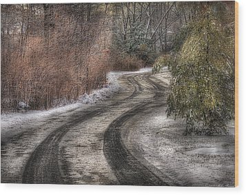 Winter - Road - The Hidden Road Wood Print by Mike Savad