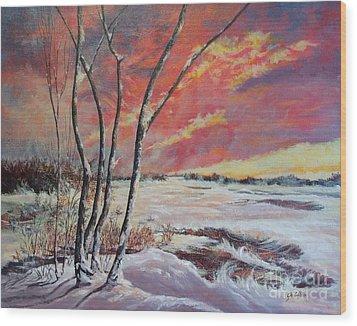 Winter Across The Lake  Wood Print
