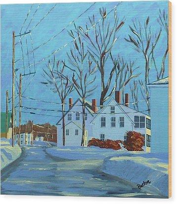 Winter Afternoon Bridge Street Wood Print by Laurie Breton