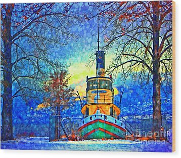 Winter And The Tug Boat 2 Wood Print