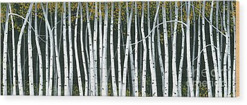 Wood Print featuring the painting Winter Aspen 3 by Michael Swanson