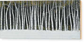 Wood Print featuring the painting Winter Aspens II by Michael Swanson