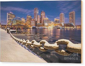 Winter At Boston Fan Pier Wood Print