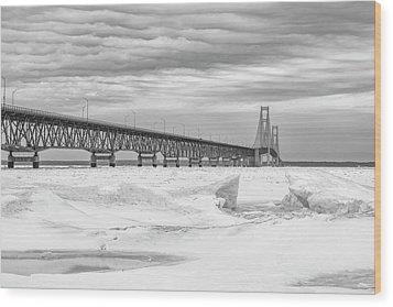 Wood Print featuring the photograph Winter At Mackinac Bridge by John McGraw