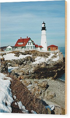 Winter At Portland Head Wood Print by Greg Fortier