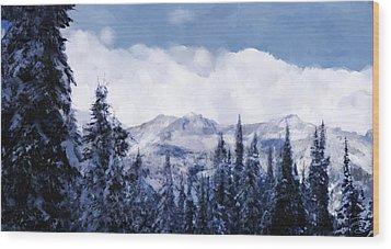 Winter At Revelstoke Wood Print by Debra Baldwin