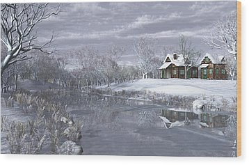 Winter At The Lake Wood Print