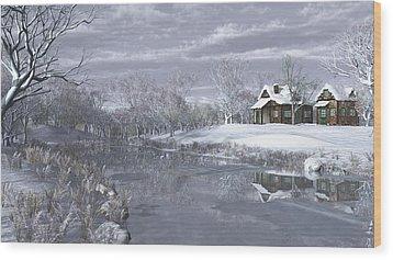 Winter At The Lake Wood Print by Jayne Wilson