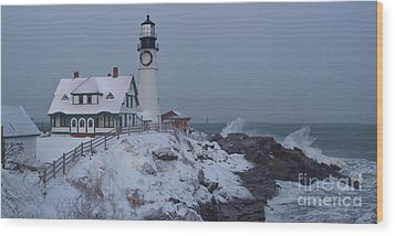 Winter At The Lighthouse Wood Print by David Bishop