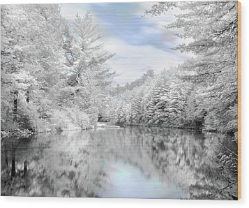 Winter At The Reservoir Wood Print by Lori Deiter