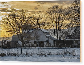 Wood Print featuring the photograph Winter Barn At Sunset - Provo - Utah by Gary Whitton