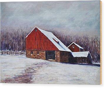 Winter Barn Bucks County Pennsylvania Wood Print by Joyce A Guariglia
